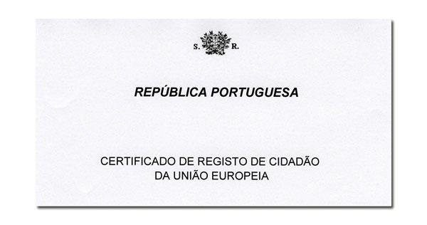 Certificado De Registo De Cidadão Da União Europeia